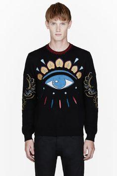 KENZO Black & Gold big Eye Embroidered Sweater