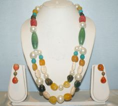 Half Double Line Semi-Precious Stone Necklace Made With Yellow Onyx, Moss Onyx, Jade, Carnelian, Agate, Pearls.