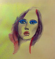Donna su fondo giallo - acrilico su carta 21x29 cm
