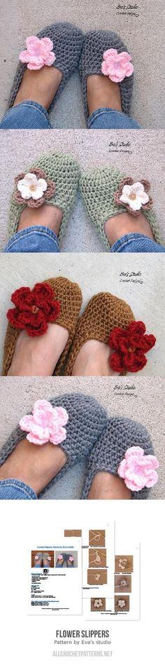 Flower slippers crochet pattern by Eva's studio - Slippers Crochet, Crochet Boots, Crochet Clothes, Women's Slippers, Sashay Crochet, Crochet Bikini, Knit Crochet, Knitting Projects, Crochet Projects