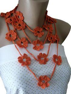 Orange Crochet Necklace, Crochet Flower Necklace, Crochet Jewelry, Bracelet, Jewelry, Lariat, Scarf , Orange, Girl, Woman. $17.00, via Etsy.