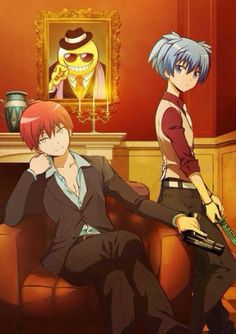 Assassination Classroom | Mafia Theme | Other version of pic. | Karma Akabane | Nagisa Shiota | Koro-sensei at the back