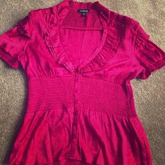 Bebe Button Down Blouse M Good condition! Silk and spandex blend bebe Tops Button Down Shirts