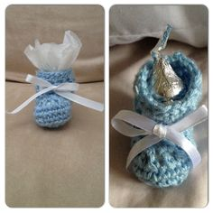 Crochet Booties For Boy Themed Baby Shower.