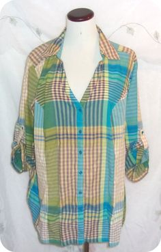 LANE BRYANT Top Plus Size 22/24 Womens Blue Multi Check Striped 3/4 Sleeve   #LaneBryant #ButtonDownShirt #CareerCasual