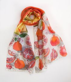 Pomegranates silk scarf Hand painted scarf SIlk Shawl by klaradar #pomegranates #handpaintedscarf