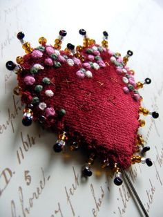 Beaded and Embroidered Heart Brooch or Lapel Pin