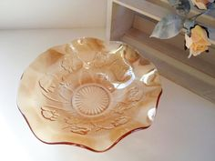 Iris and Herringbone iridescent glass bowl