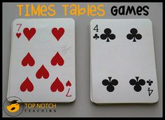A card game that you can use to help your students practice and recall times tables facts.
