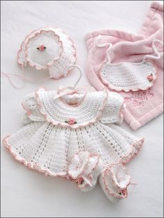 Ella Rose Set - Technique - Crochet  Dainty pink ruffles outfit Baby in a beautifully detailed ensemble for those especially dressy occasions. The set includes dress, bonnet, booties and bib. This e-pattern was originally published in It's a Little Baby Girl Thing!