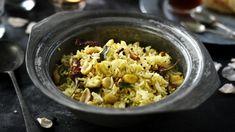 Lemon rice recipe - BBC Food Curry Recipes, Rice Recipes, Cooking Recipes, Vegan Recipes, Indian Veg Recipes, Ethnic Recipes, Lemon Rice, Potato Cakes, Korma
