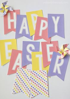 Free Printable Spring & Easter Banner and Pinwheels - Beautiful, bright and colorful bunting banners and pinwheels – Free printables to for Easter or - Easter Templates, Easter Printables, Free Printables, Party Printables, Bunting Template, Bunting Banner, Buntings, Happy Easter Banner, Easter Garland