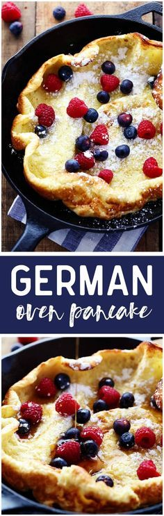 German Oven Pancakes - Delicious and easy. Serve with defrosted frozen berries and powdered sugar. - Serves A hot and puffy golden pancake that only requires 5 minutes of prep! This classic breakfast is always a huge hit at our house! What's For Breakfast, Breakfast Dishes, Breakfast Recipes, Pancake Recipes, Pancake Breakfast, Breakfast Skillet, Breakfast Options, Breakfast Healthy, Christmas Breakfast