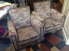 Pair Of 1920's Vintage Upholstered Armchairs