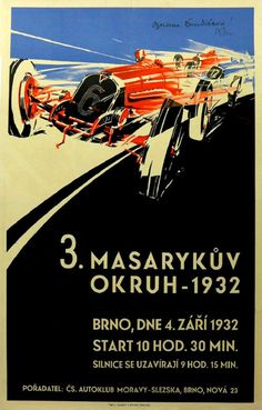 Affiche du Grand Prix automobile de Tchécoslovaquie 1932, signature illisible.