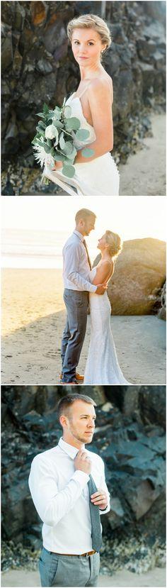 Beach wedding fashion, casual groom attire, grey tie, bridal up-do, simple lace wedding dress, leafy wedding bouquet // Shayla Renee Photography