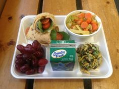 Turkey whole grain wrap with chicken noodle veggie soup, broccoli raisin salad, grapes and 1% white milk from Waterford Crary Middle School in Waterford, Mich.