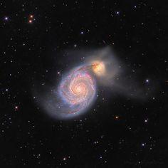 Whirlpool Galaxy M51 - HII nodules enhanced ( Arnaud Peel ) - AstroBin Helix Nebula, Orion Nebula, Andromeda Galaxy, Galaxies, Nebulas, Carina Nebula, Hubble Images, Whirlpool Galaxy, Star Formation