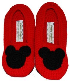 Mickey Mouse inspired slippers Childrens Sizes by PattisProjects