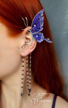 Violet butterfly ear cuff * Ear cuff with chains * Ear wrap * Fairy ear cuff * Fairy earwrap - Fashion City Gold Bar Earrings, Plugs Earrings, Aquamarine Earrings, Tiny Stud Earrings, Ear Jewelry, Bridal Jewelry, Fine Jewelry, Elf Ear Cuff, Ear Cuffs