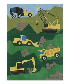 The Momeni Construction Rug will make a stylish and adorable addition to your child's bedroom or playroom. This rug is hand-tufted of plush yet durable polyester, and it features bright yellow construction vehicles over a green background. Kids Area Rugs, Area Rugs For Sale, Retro Robot, Green Bedding, Whimsical Fashion, Hand Tufted Rugs, Woodland Creatures, Accent Colors, Vibrant Colors