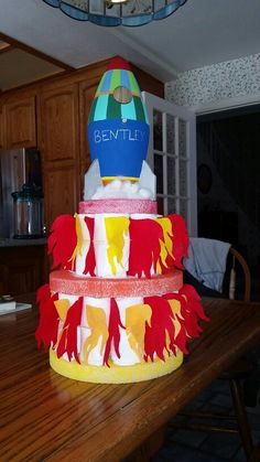 Big Bang Theory 4 Tier Rocket Diaper Cake Baby Shower