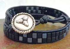 Men's Wrap Bracelet, Unisex Cuff Bracelet, Beaded Bracelet, Black Miuyuki Bracelet by CupidsMoonJewelry on Etsy