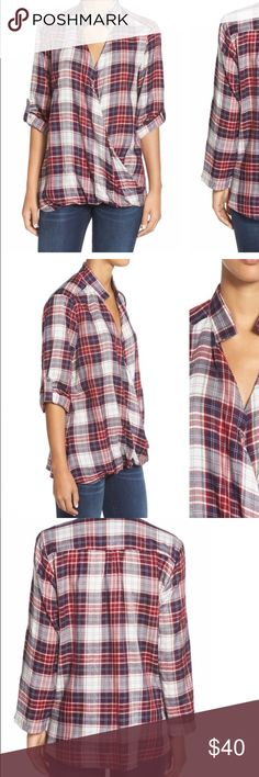 🎀HOST PICK!🎀 Bobeau Plaid Faux-Wrap Top. 🎀HOST PICK 2016 POSH FEST! (10.1.16)🎀Worn once, NEW CONDITION! A unique twist to the must have plaid shirt for Fall/Winter! bobeau Tops Blouses