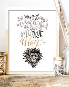 One True Aslan Print  C.S. Lewis Quote by WinsomeEasel on Etsy