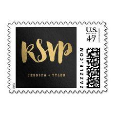 Shining Promise RSVP Wedding Postage Stamp#Wedding#gold More