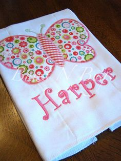 Cute Butterfly Applique Burp Cloth for Girls With by bowsnbu