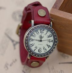 10 Sale Brown Leather Watch for Women and Men by MyWatch on Etsy, $17.09
