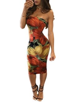Floral Printed Strapless Bodycon Dress_Bodycon Dress_Dresses_Sexy Lingeire | Cheap Plus Size Lingerie At Wholesale Price | Feelovely.com