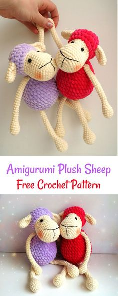 Crochet Amigurumi Ideas This FREE crochet pattern is super-easy and perfect for beginners! - These sweet amigurumi sheep are created in the blink of an eye! The pattern is super-easy and perfect for begi Crochet Dragon Pattern, Crochet Sheep, Crochet Animal Amigurumi, Cute Crochet, Amigurumi Patterns, Crochet Animals, Crochet Crafts, Crochet Dolls, Crochet Baby