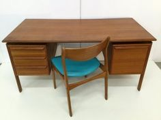 Danish Teak Double Pedestal Desk With Chair