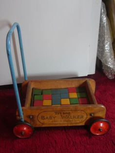 1950s Vintage Toy Triang Baby Walker with wooden bricks | eBay
