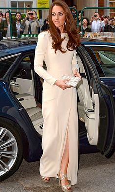 Kate Middleton in a Roland Mouret cream dress with a side slit