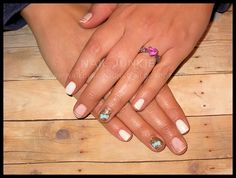 Nail Junkie in Dover, Ohio IG: @dana_nailjunkie #nailjunkie #nailart #weddingnails #handpainted #art #acrylicbow #goldglitter #lightpink #nails