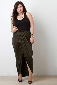 Plus Size Draped Front Suede Maxi Skirt | UrbanOG