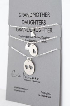 Mothers Day Gift. Grandmother Daughter Granddaughter Jewelry. Mom Jewelry. Simple Delicate. Sterling Silver by erinpelicano on Etsy https://www.etsy.com/listing/190811728/mothers-day-gift-grandmother-daughter