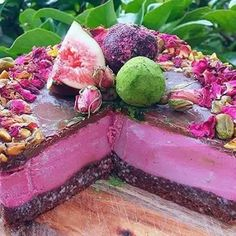 I'm Gunna give this a Go!  RAW TURKISH DELIGHT CHEESECAKE  INGREDIENTS Base:  8 fresh pitted dates  1 1/2  cup macadamia nuts  1/4 cup raw cacao powder*  pinch of sea salt  4 tbsp coconut oil* Filling:  2 cups raw cashews, soaked in water for 6-8 hours & rinsed (this process also increases their bio-availibilty by activating them)  1/2 cup coconut butter/paste*  1/3 cup coconut nectar* (more if you like sweeter) or preferred sweetener  1 tsp vanilla powder* (or scrape a vanilla pod)  20 ml…