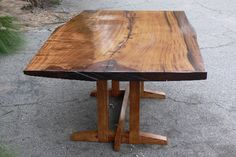 """I love slab-top furniture.  Especially when you fill the """"sap holes"""" with color, like crushed torquoise or another stone, and varnish over.  :)"""