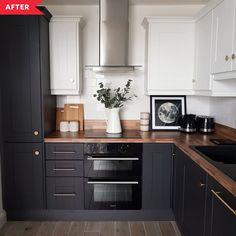 Black Kitchen Cabinets, Black Kitchens, Home Kitchens, Gray Cabinets, Black Ikea Kitchen, Upper Cabinets, Black Counter Top Kitchen, Kitchen With Wood Countertops, Kitchen Black Appliances