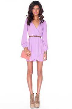 'It's a Wrap' Dress in Lilac from Honey Punch [on sale for $36 from tobi]