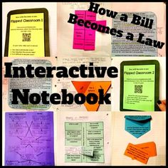 SS Interactive Notebook: How a Bill Becomes A Law.... 8 foldables (includes 2 flipped classroom assignments) with answer keys and pictures. includes