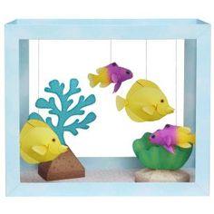 Papieraquarium : Gelber Segelflosser/Feenbarsch,Tiere,Papiermodelle,Wassergras,Seegras,Koralle,Fisch,Meer,Bouger,Aquarium