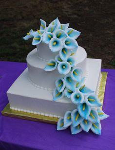 Square and Round Wedding Cake with Blue Calla Lillies ~ toptierweddingcakes.dotphoto.com