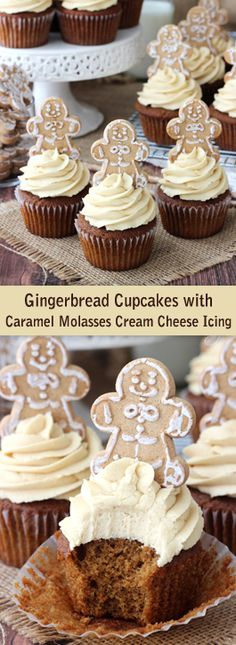 Gingerbread Cupcakes with Caramel Molasses Icing - so moist and delicious!
