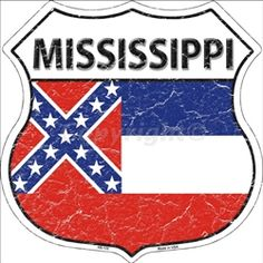 HS-132 Mississippi State Flag Highway Shield Aluminum Metal Sign