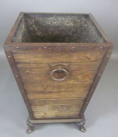 Large Rustic Salvage Wooden Flower Pot Planter. Reclaimed Mahogany & Iron